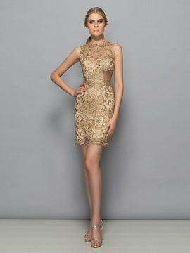 Timeless Straps Beading Sheath Lace Cocktail Dress