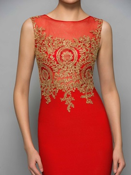 Sexy Scoop Neck Appliques Mini Red Cocktail Dress