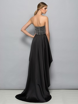 Cool Strapless Beading High Low Cocktail Dress