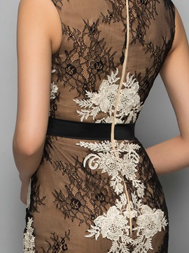 Vintage Straps Sheath Appliques Lace Cocktail Dress