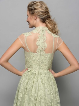 Fancy High Neck Lace Appliques Knee-Length Cocktail Dress