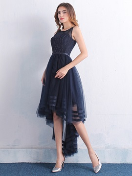 Chic Straps Beading Tulle High Low Cocktail Dress