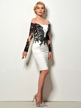Elegant Long Sleeves Jewel Neck Sheath Appliques Button Knee-Length Cocktail Dress