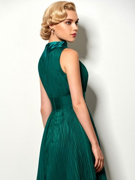 High Neck A-Line Ruched Pick-Ups Cocktail Dress