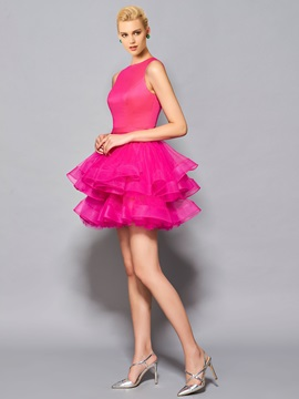 Pretty Scoop Ball Gown Pick-Ups Short Cocktail Dress