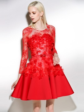 Gorgeous Scoop A-Line Long Sleeves Beading Lace Sashes Mini Cocktail Dress