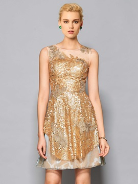 Gorgeous A-Line Scoop Lace Sequins Short Cocktail Dress