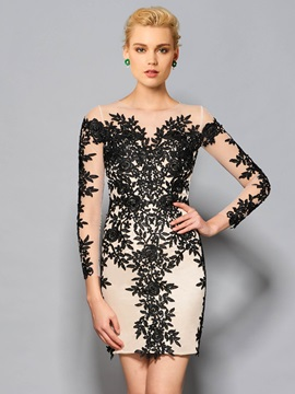 Fancy Sheath Round Neck Long Sleeves Appliques Lace Knee-Length Cocktail Dress