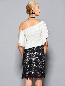 Attractive Sheath Off-the-Shoulder Half Sleeves Lace Ruffles Knee-Length Cocktail Dress