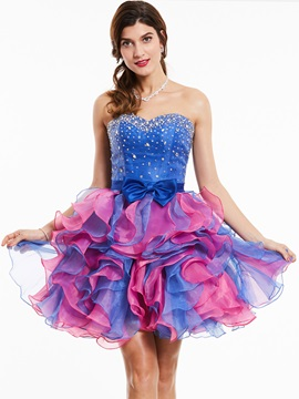 Exquisite Sweetheart -Up Beaded Bowknot Cocktail Dress