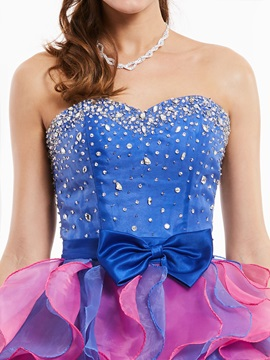 Exquisite Sweetheart Zipper-Up Beaded Bowknot Cocktail Dress