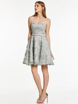 Sweetheart Lace-Up Feather A Line Cocktail Dress