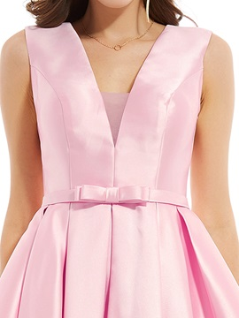 V Neck Zipper-Up Bowknot A Line Evening Dress