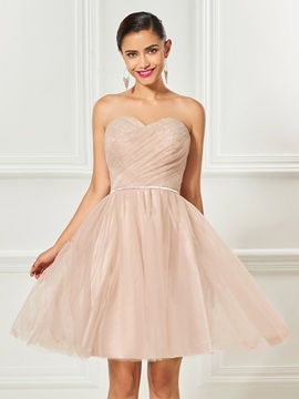 Lovely Sweetheart Lace Ruched Sashes Knee-Length Cocktail Dress