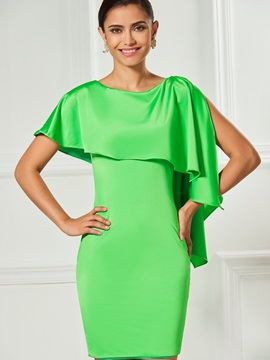 Fancy Scoop Sheath Short Sleeves Ruffles Cocktail Dress