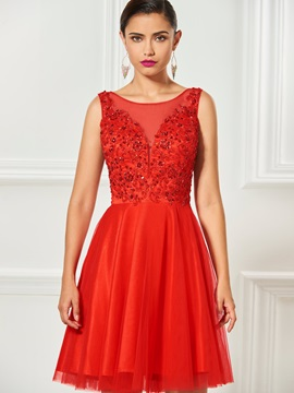 A-Line Bateau Appliques Beading Draped Cocktail Dress