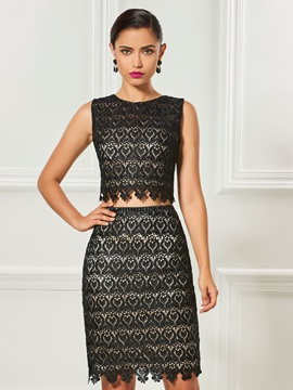 Gorgeous Two Pieces Scoop Sheath Lace Knee-Length Cocktail Dress