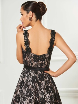 Spaghetti Straps Beaded A-Line Lace Prom Dress