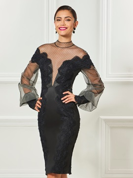 Gorgeous High Neck Long Sleeves Sheath Appliques Knee-Length Cocktail Dress