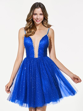 Gorgeous A-Line Sequins Spaghetti Straps Backless Short Homecoming Dress