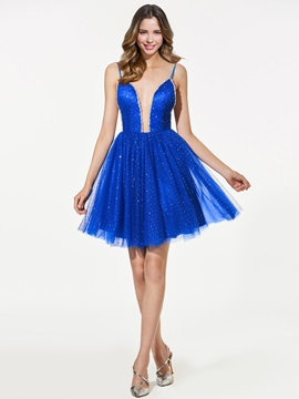 A-Line Sequins Spaghetti Straps Homecoming Dress