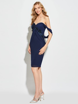 Sheath Sweetheart Appliques Sequins Cocktail Dress