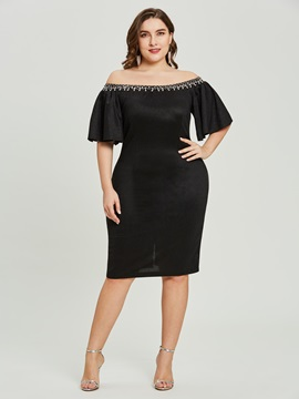Off-the-Shoulder Beaded Sheath Knee-Length Cocktail Dress