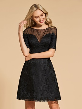 A-Line Bateau Half Sleeves Lace Cocktail Dress