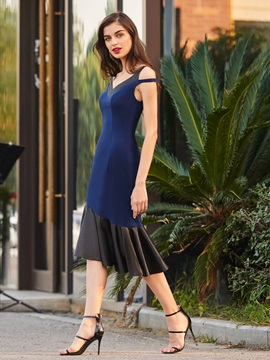 V-Neck Trumpet Tea-Length Cocktail Dress