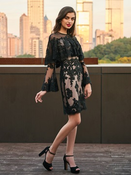 Scoop Long Sleeves Button Lace Cocktail Dress