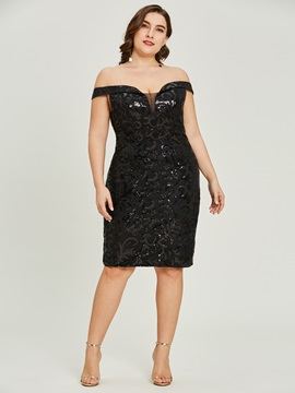 Sequins Sheath Off-the-Shoulder Cocktail Dress