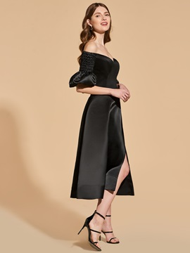 A-Line Off-the-Shoulder Split-Front Cocktail Dress