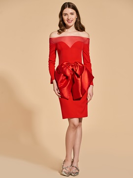 Sheath Empire Bowknot Off-the-Shoulder Cocktail Dress