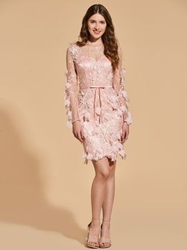 Bowknot Sheath Appliques Button Lace Cocktail Dress