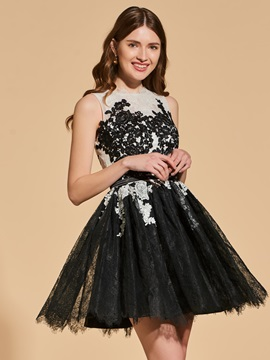 A-Line Appliques Lace Sashe Button Cocktail Dress