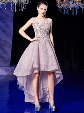 A-Line Lace Appliques Scoop High Low Homecoming Dress