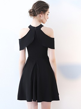 A-Line Open Shoulder Mini Homecoming Dress