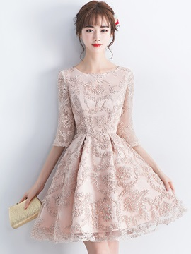 A-Line Lace Empire Mini Homecoming Dress
