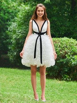 V-Neck Ball Gown Cascading Ruffles Cocktail Dress