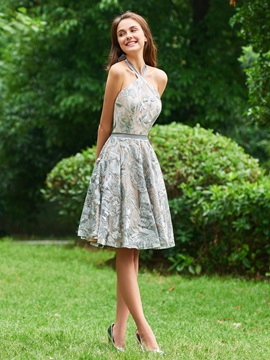 Halter Lace A-Line Sashes Cocktail Dress