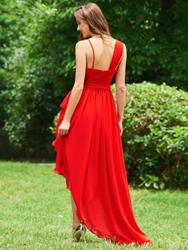 Straps Sashes Pleats High Low Cocktail Dress