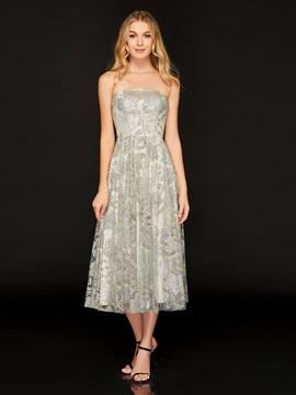 Strapless Lace Beaded A-Line Cocktail Dress
