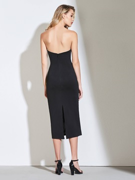 Sheath Strapless Two Pieces Tea-Length Cocktail Dress