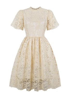 Scoop Neck Short Sleeves A Line Lace Homecoming Dress