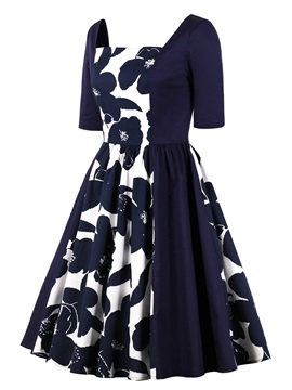 Square Neck Printed A Line Homecoming Dress