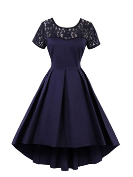 Scoop Neck Short Sleeves Lace A Line Cocktail Dress