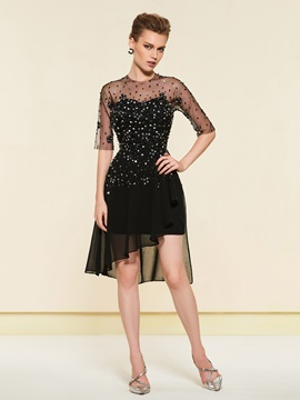 Half Sleeves Beading Black Cocktail Dress