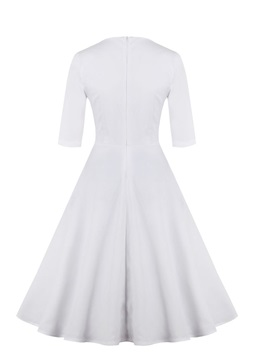 Knee-Length Short Sleeves White A-Line Homecoming Dress
