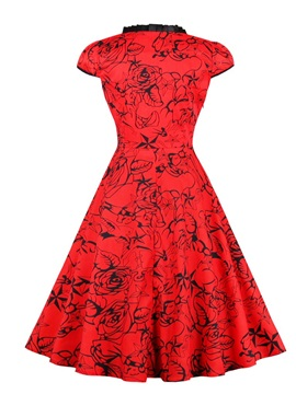 Knee-Length Sweetheart A-Line Red Cocktail Dress