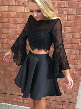 Long Sleeves Lace Beading Black Cocktail Dress 2019